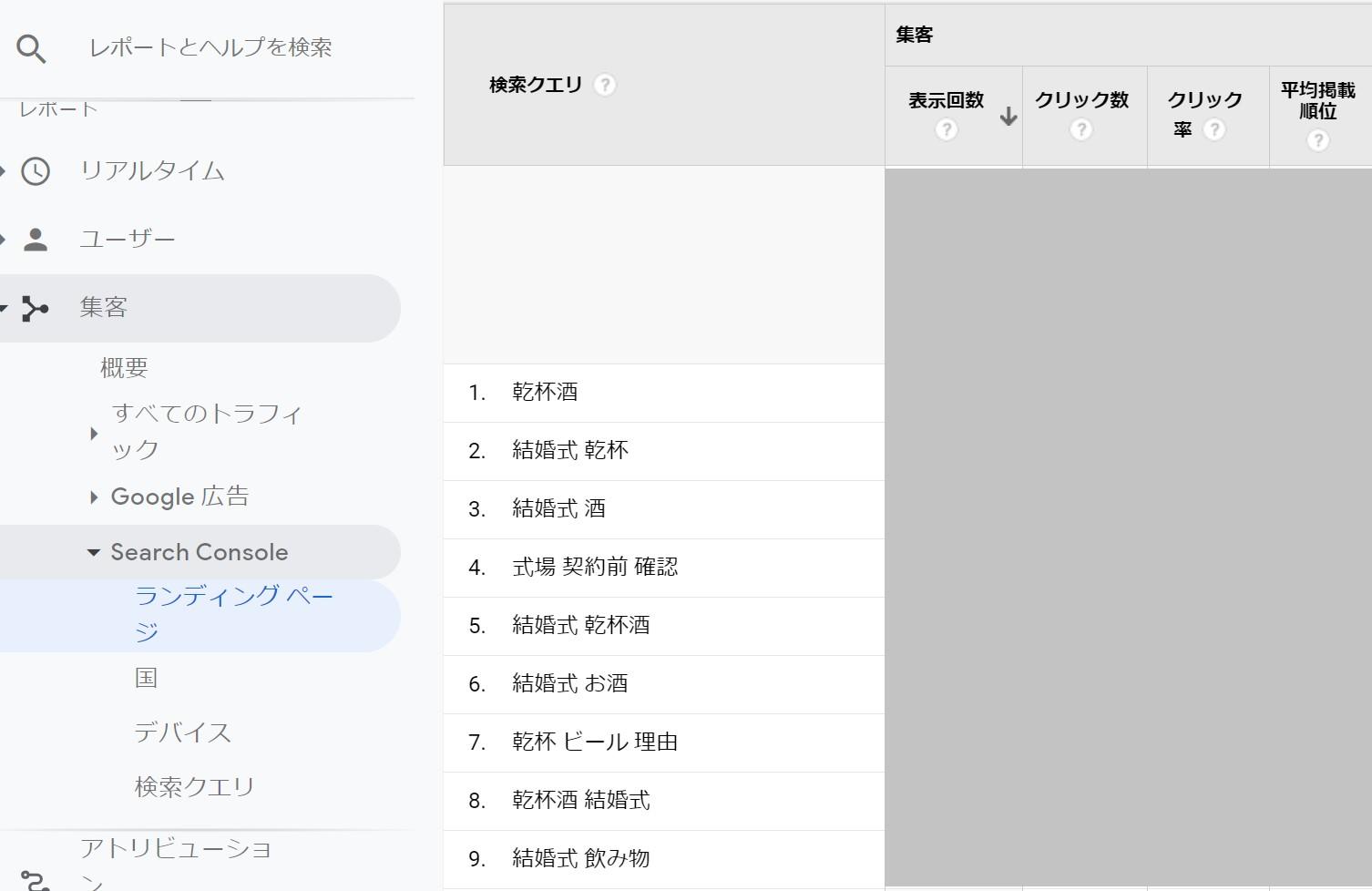 searchconsoleのページごとの検索クエリ